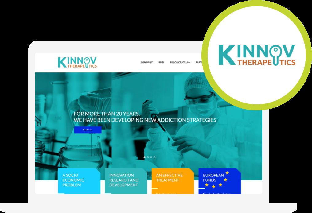 Zdjęcie witryny internetowej i logotypu Kinnov Therapeutics