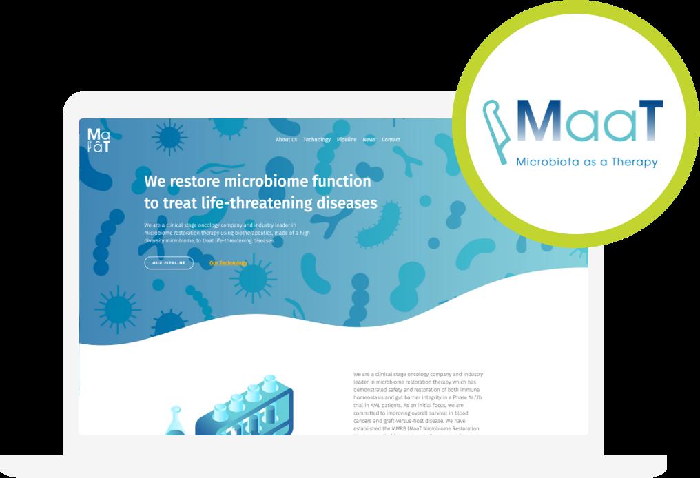 Zdjęcie strony i logo spółki MaaT Pharma