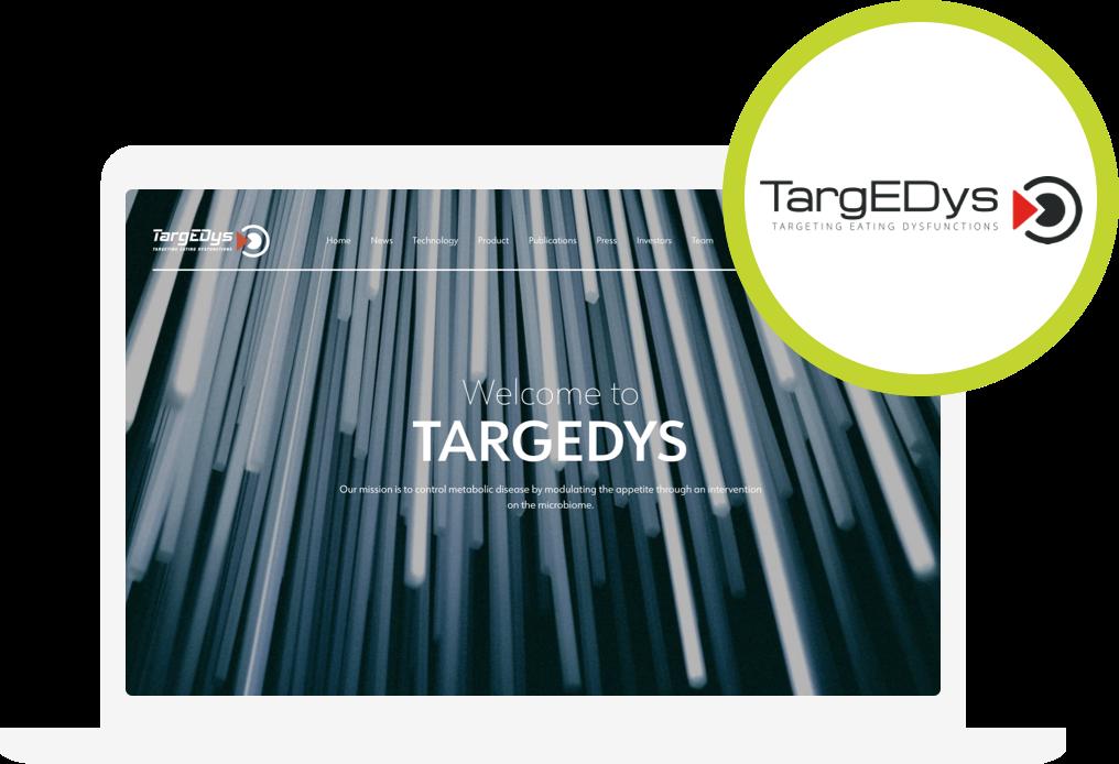 Zdjęcie witryny internetowej i logotypu start-upu TargEDys
