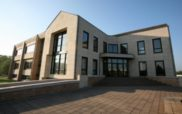 Main entrance of Biocodex R&D center in Compiègne (Oise), France